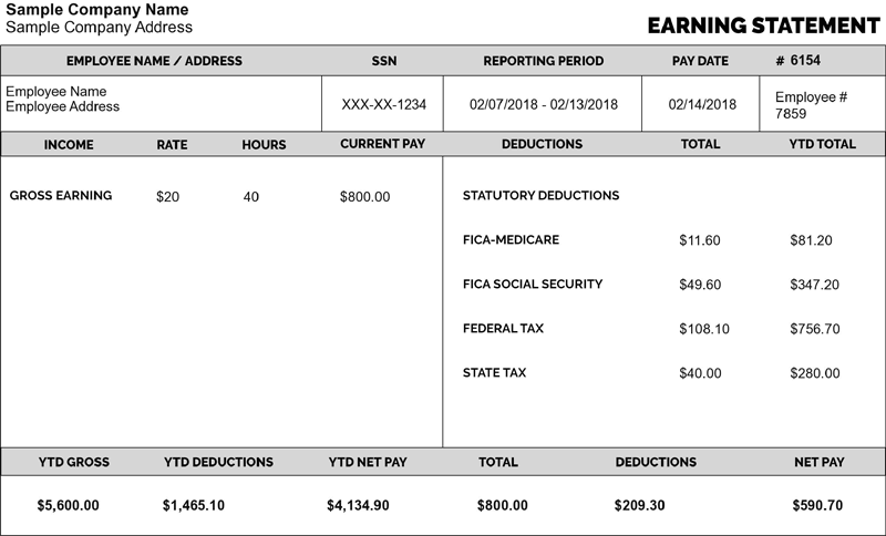 Pay Stub Template Payroll Template Free Checking Best Templates
