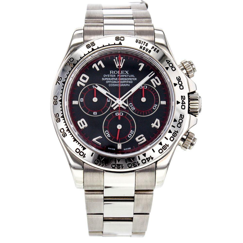 Rolex Cosmograph Daytona 116509 18k White Gold Men S Watch Black Dial Rolex Luxurysportstyles
