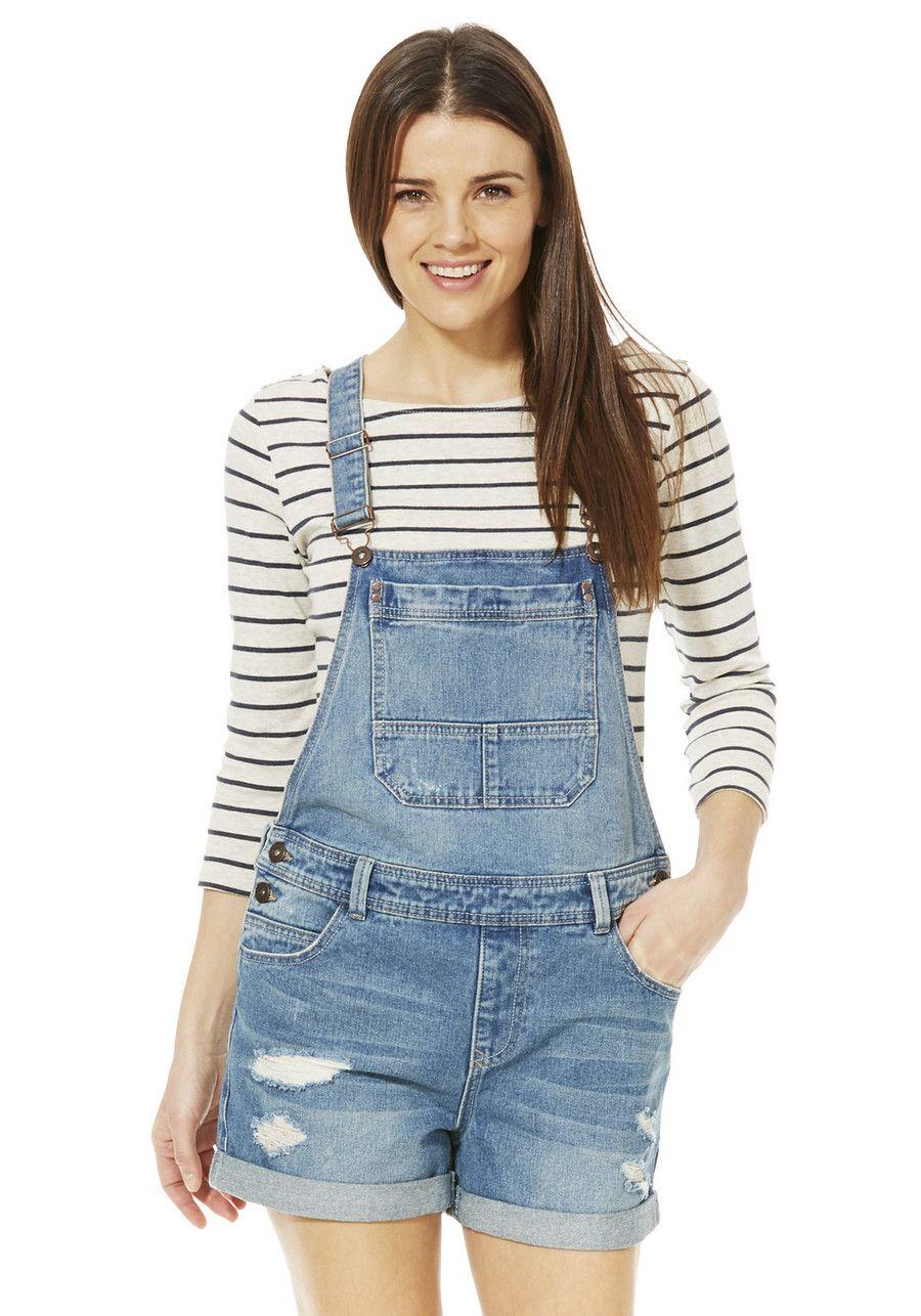 Clothing at Tesco | F&F Denim Dungaree Shorts > shorts > All Sale ...