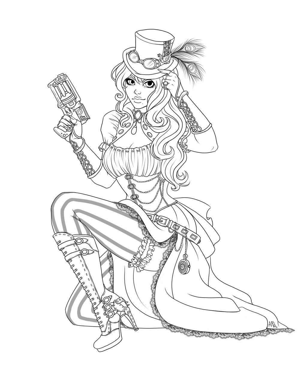 steam punk coloring pages - Pin Up Girl Coloring Pages