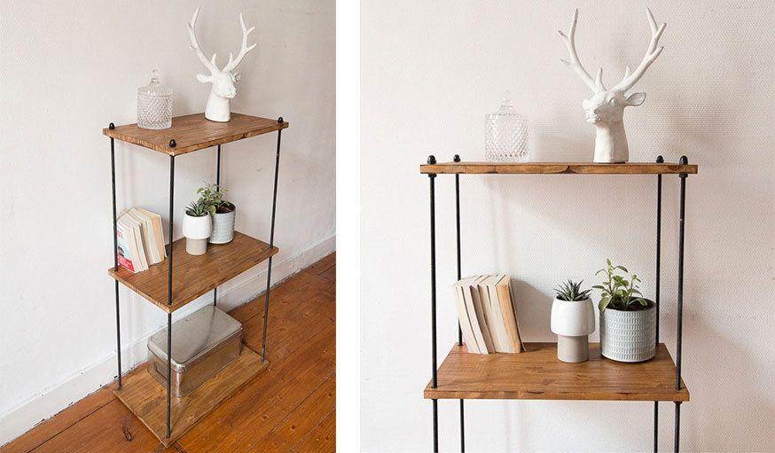 diy pour fabriquer une tag re industrielle en m tal et. Black Bedroom Furniture Sets. Home Design Ideas