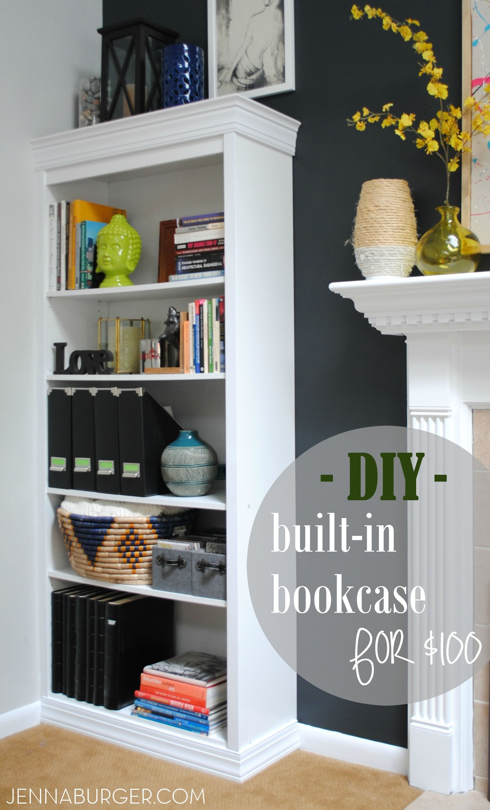 Diy Tutorial How To Make A Laminate Bookcase Look Like Custom Built In Bookshelf 1000 Or More For Just About 100 Similar