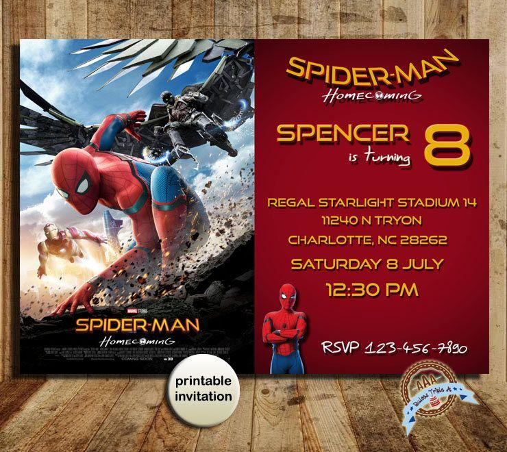 Spiderman Homecoming SpiderMan Homecoming Invitation Spiderman