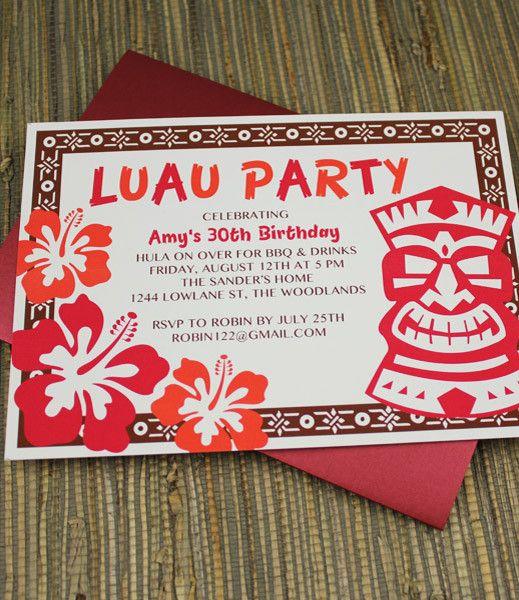 invitation template – luau party with tiki design | luau party, Invitation templates