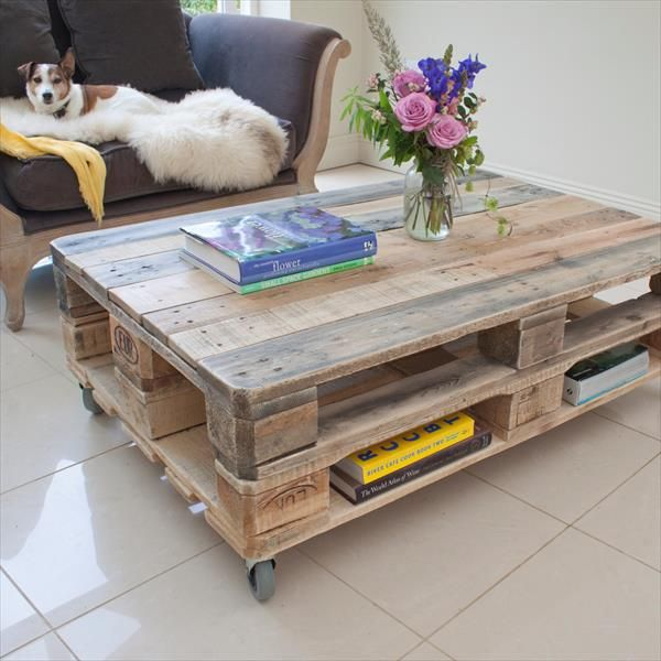 DIY Industrial Pallet Coffee Table with Wheels Pallet Furniture