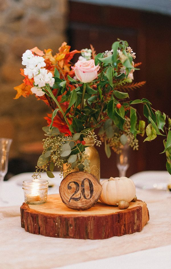 fall wedding table decorations 50 tree stumps wedding ideas for rustic country weddings 4043