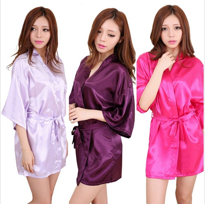 be9acaadcb Large Size Sexy Silk Satin Night Kimono Robe Short Bathrobe Perfect Wedding  Bride Bridesmaid Robes Dressing Gown For Women