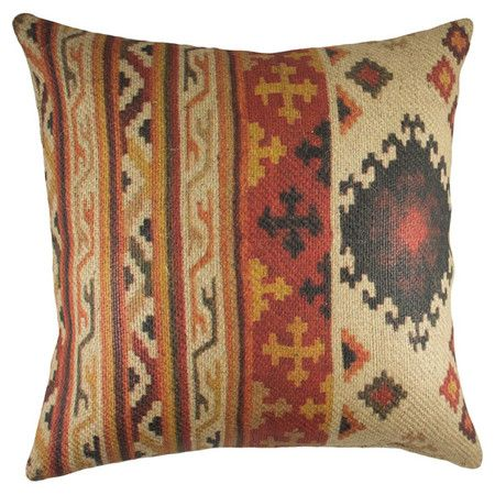 Burlap pillow with a Southwestern