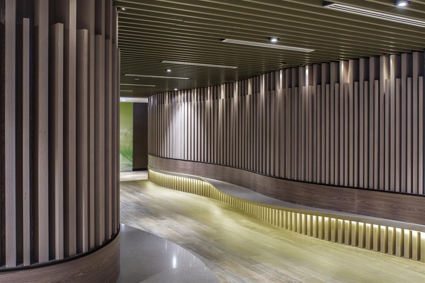 Corridor Design: Corridor / Wood Louvers / Curves At Shaw Centre Singapore