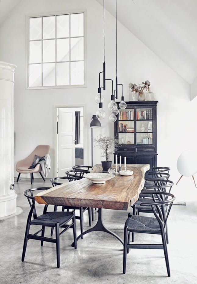 Raw Beauty 14 Gorgeous Spaces With Concrete Floors Modern Farmhouse Dining Room Scandinavian Dining Room Modern Farmhouse Dining Modern concrete dining room design