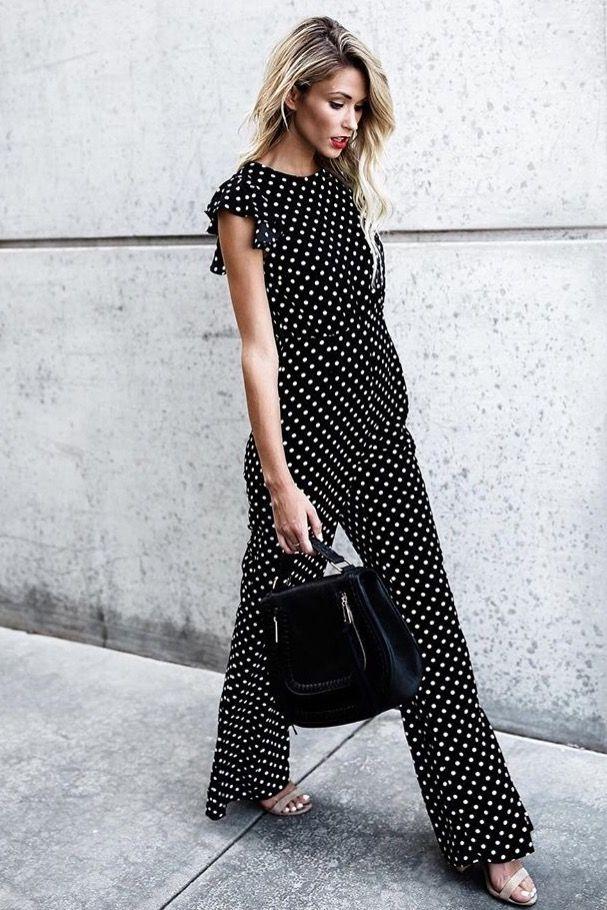 8f4bafa157f black polka dot jumpsuit