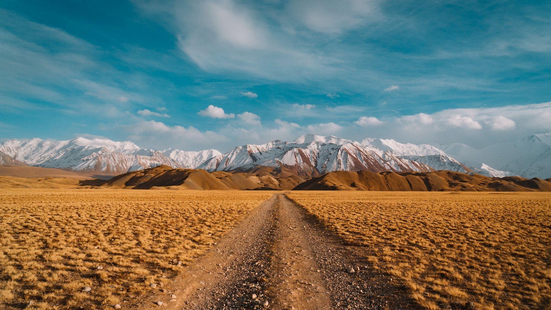 Desert Landscape Blue Skyline Mountains 1920x1080 Wallpaper Desert Landscape Design Landscape Desert Landscaping