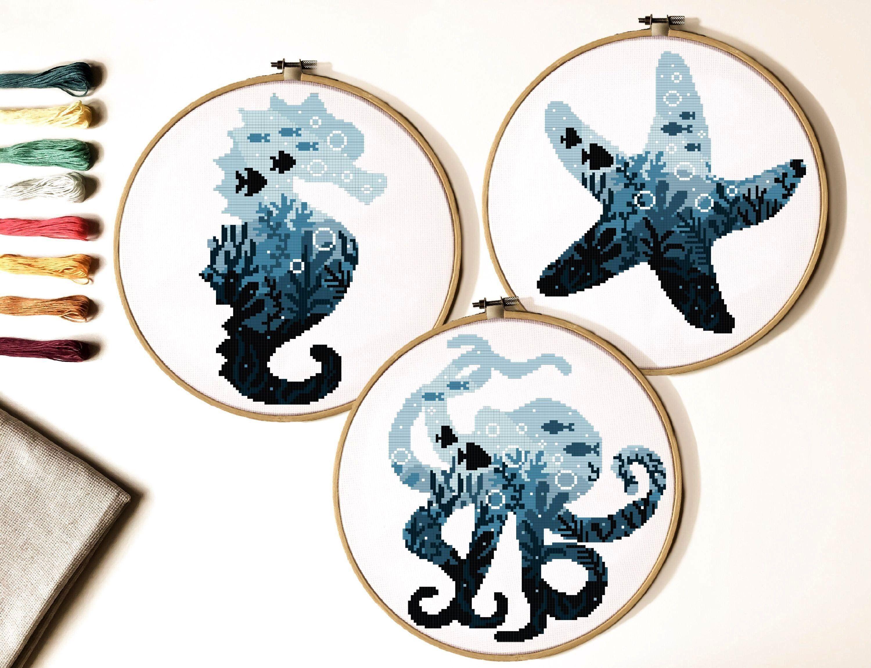 octopus sea Horse Cross Stitch Pattern sea  ocean cross stitch chart animal cross stitch nature hoop art instant PDFStarfish octopus sea Horse Cross Stitch Pattern sea  o...