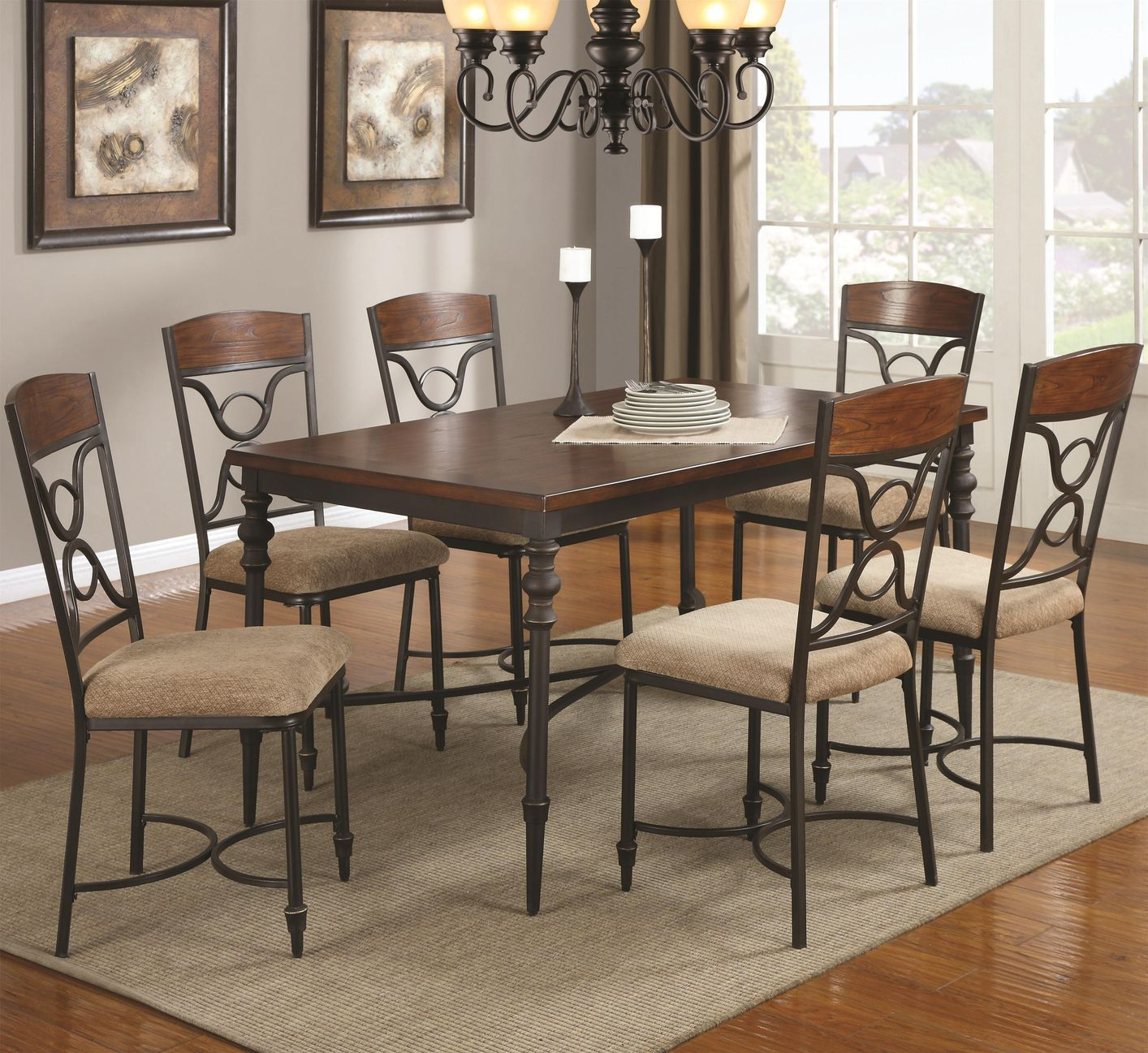 Brown Metal And Wood Dining Table Set Los Angeles Dark Room Nice With Image Remodelling New