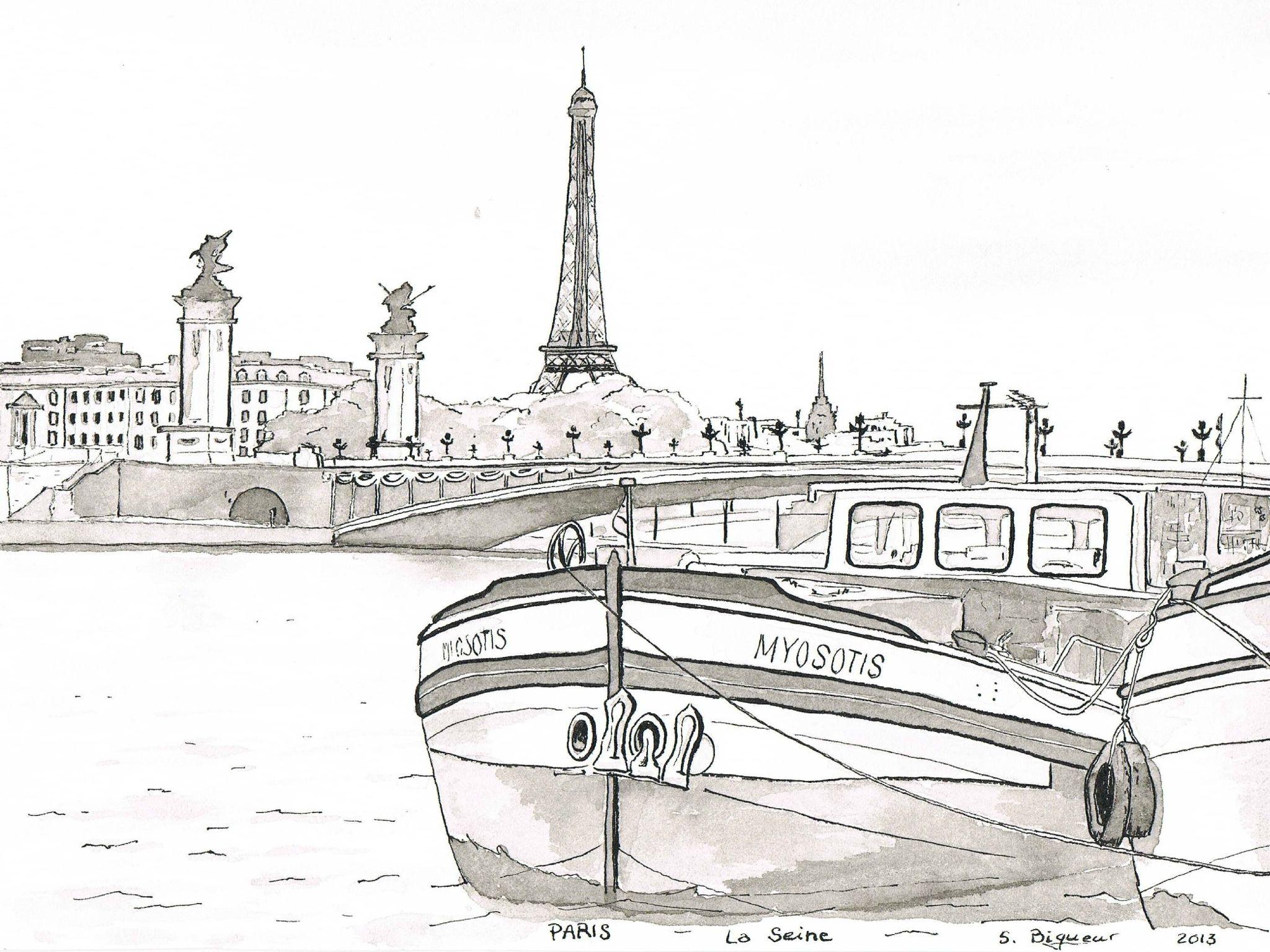Paris la seine pont alexandre iii gravures et dessins - Dessin a colorier paysage ...
