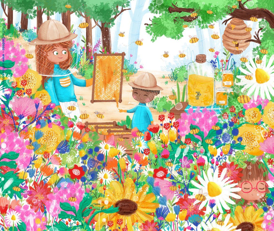 Honey bees - children's illustration by Sofia Cardoso #illustration #kidlitart