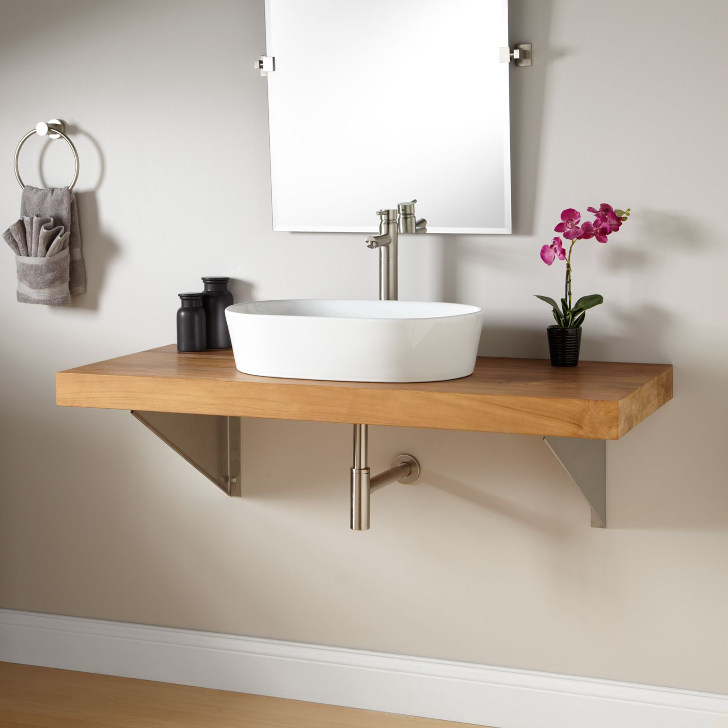 small sink vanity for small bathrooms%0A Teak Wall Mount Vanity for Vessel Sink  Triangular Brackets