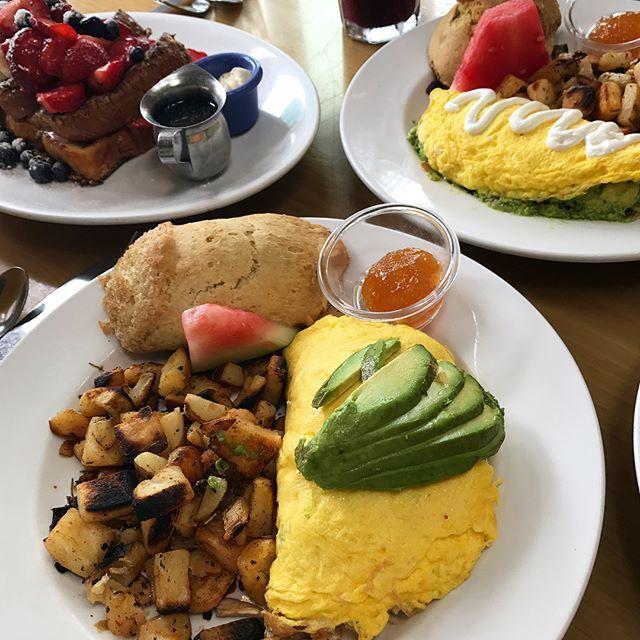 2017.6.25 [San Diego] 라호야 비치쪽에 유명하다는 브런치집 The Cottage!  주말 점심때라 30분 웨이팅이있었지만 기다리는 손님들을 위해 무료 커피와 케이크도 주던곳 ㅎㅎㅎ 일단 음식 비주얼이 너무 예쁘다ㅜㅠ❣️ 이집에서 유명한 프렌치토스트는 안에 딸기가 들어있고 빵이 되게 촉촉했다 위에 과일토핑도 듬뿍✨ 오믈렛도 아보카도가 위에 올라가있고 안에 치킨이랑 버섯 등등 속도 꽉차있어서 좋았당!  무엇보다 사이드로 나오는 감자랑 비스킷이랑 잼이 세젤맛❣️ 마지막으로 시킨 클럽샌드위치는 깔끔하고 담백한 맛이여서 개인적으로 제일 좋았던 메뉴 👌🏻👌🏻 . . . #뙈지스타그램 #먹스타그램 #데일리푸드 #샌디에고 #맛집 #미국여행 #thecottage #sandiego #lajolla #brunch #stuffedfrenchtoast #tuscanomelet #californiaomelet #clubsandwich #instafood #yumyum #lajollal
