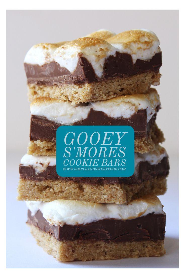 Gooey S'mores Cookie Bars #chocolatemarshmallowcookies