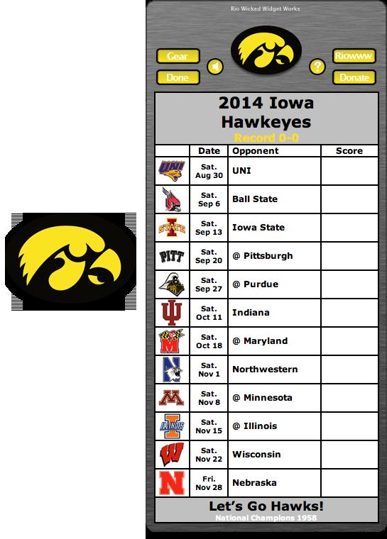 Free 2014 Iowa Hawkeyes Football Schedule Widget for Mac