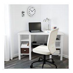 BRUSALI Birou colţ, alb - 120x73 cm - IKEA