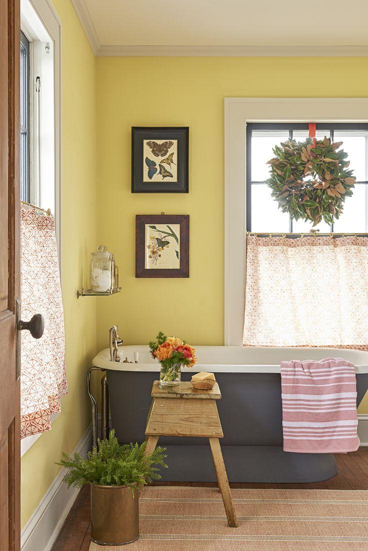 A True to Form 1929 Farmhouse | Pedestal tub, Pattern curtains and Tubs