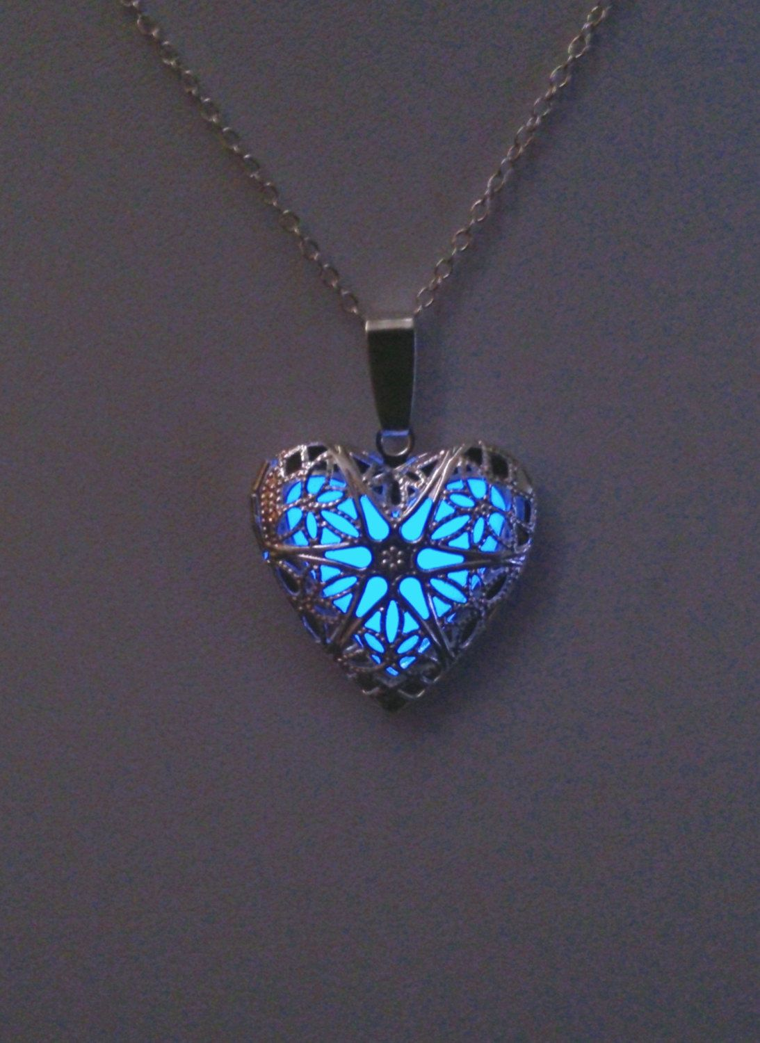 Glowing locket heart necklace wife gift easter gift glow glowing locket heart necklace wife gift easter gift glow in the dark pendant glowing charm bridesmaid necklace gifts for her negle Images