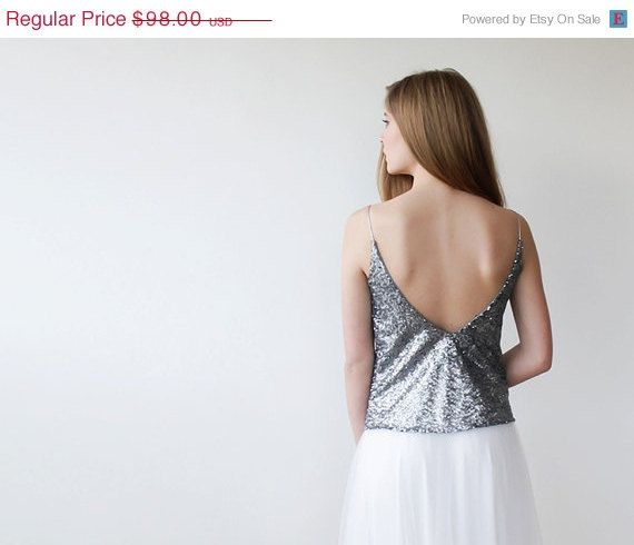 Christmas SALE Silver sequin tank top  ,with spaghetti straps