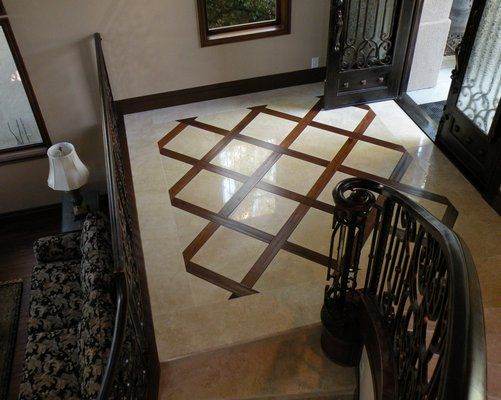 Travertine Foyer Design : Travertine and wood flooring combinations