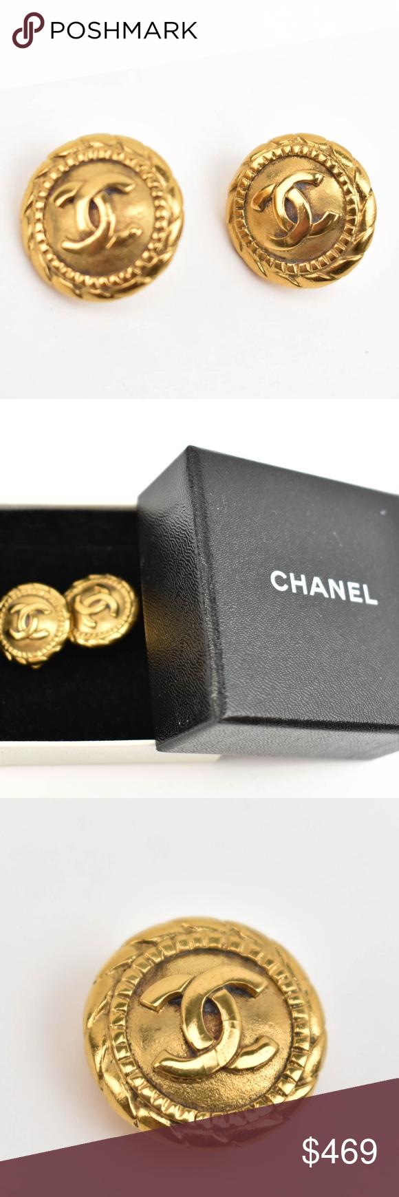 "CHANEL Gold, Metal & ""CC"" Logo Earrings (qr) Yellow gold"