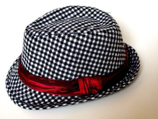 c0b9cecba5b2b Kid s size fedora hat (Black   White plaid red strap)