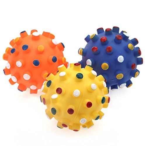 Chiwava 3pcs 39 Squeak Vinyl Dog Toy Spiky Dot Ball Pet Fetch Toy
