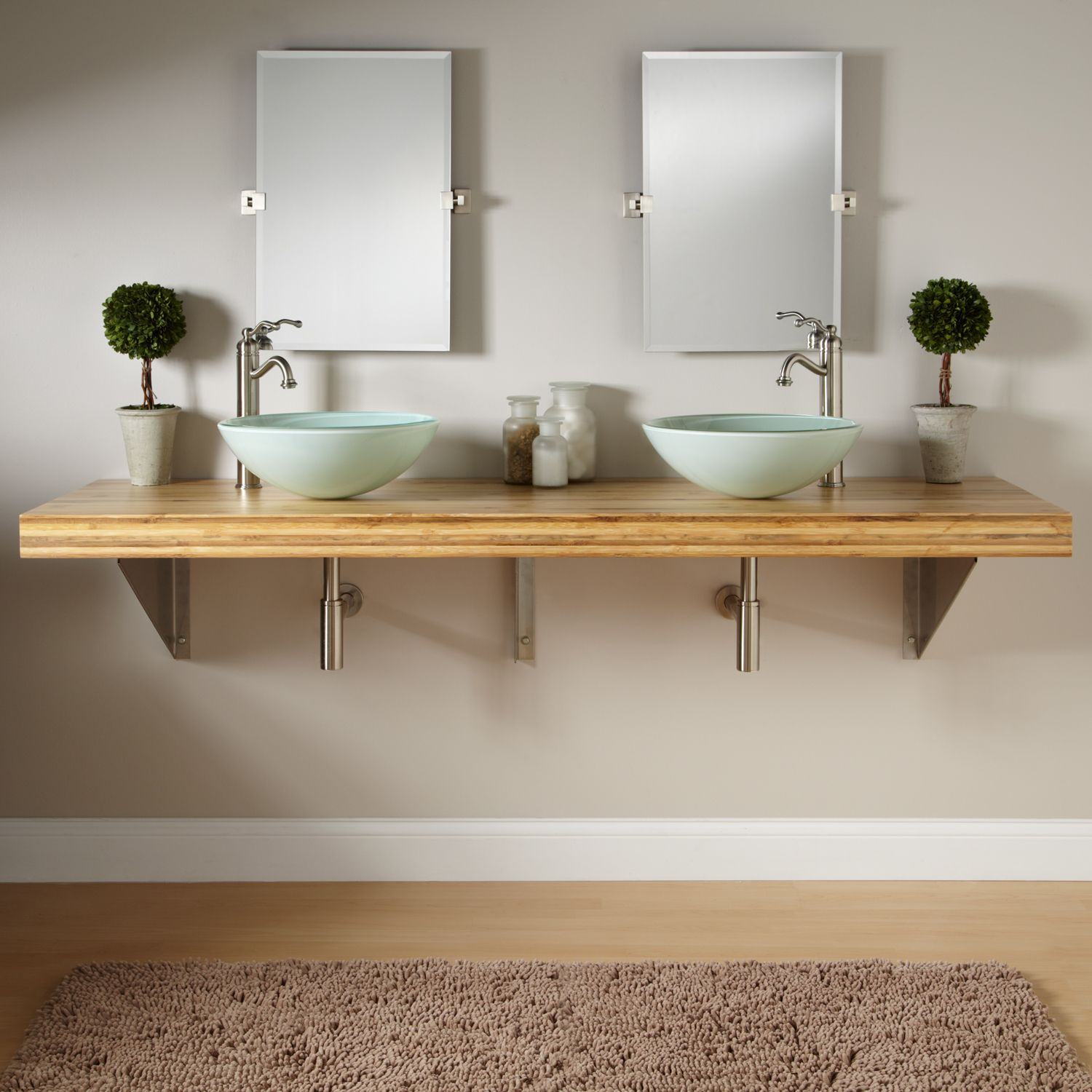 $1,224.95 Bamboo Wall Mount Vanity For Vessel Sinks   Triangular Brackets  Material: Bamboo U202273
