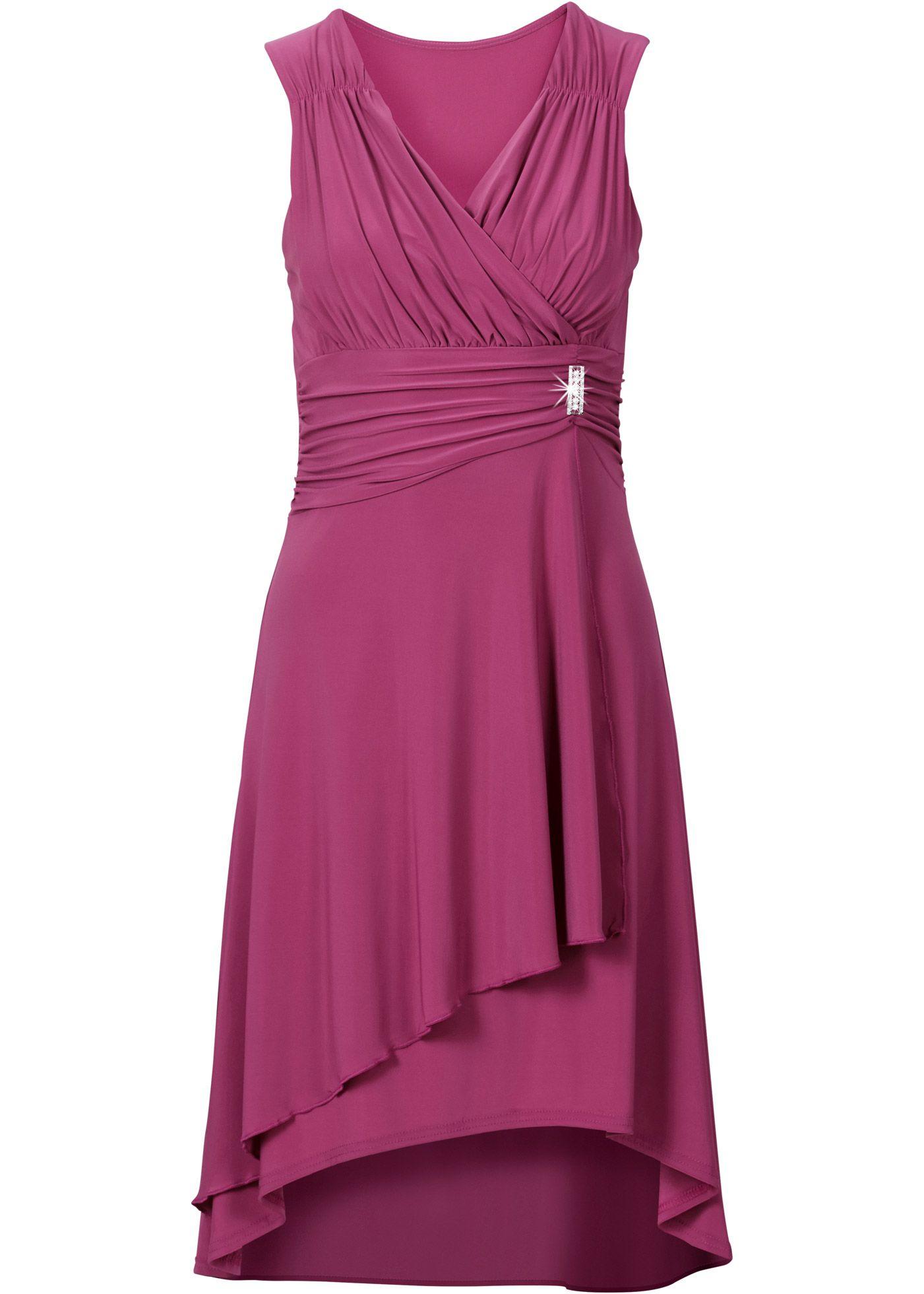 0de8e00ad6e252 Jurk magenta - BODYFLIRT nu in de onlineshop van bonprix.nl vanaf   36.99  bestellen. Prachtige jurk met wikkellook bij de V-hals en fijne plooitjes