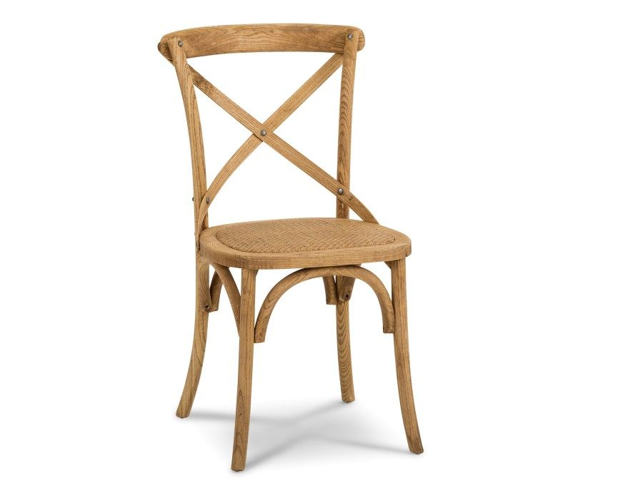 Cross Natural Oak Wood And Rattan Dining Chair Dining Chairs