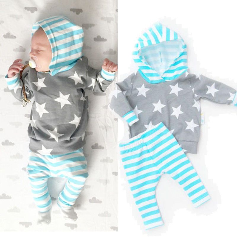 50347d331fc0 Click to Buy    Newborn Baby Girl Boy Clothing Sets Star Hoodie Tops ...