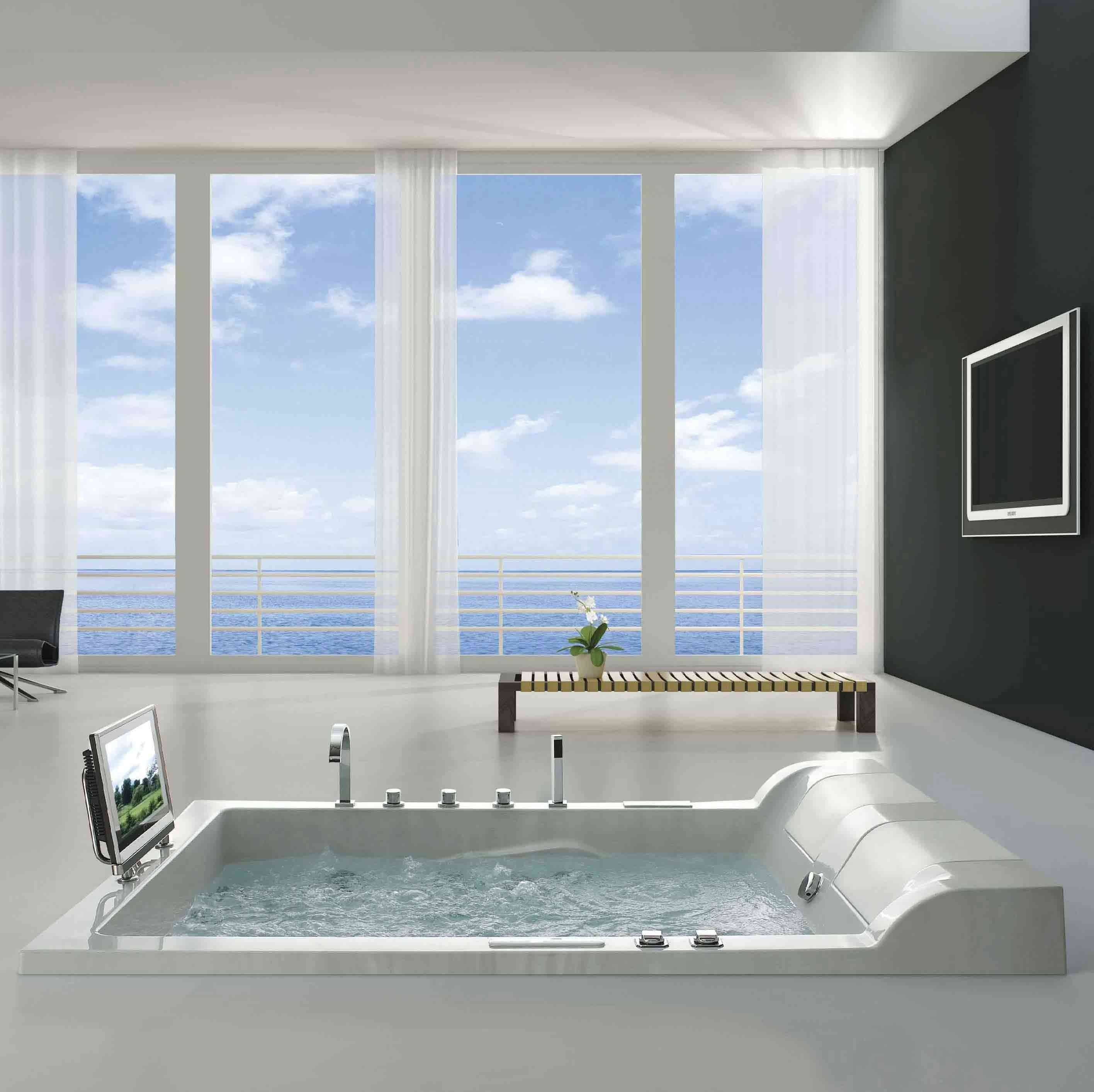Bathroom. sophisticated undemount white square jacuzzi with mini ...