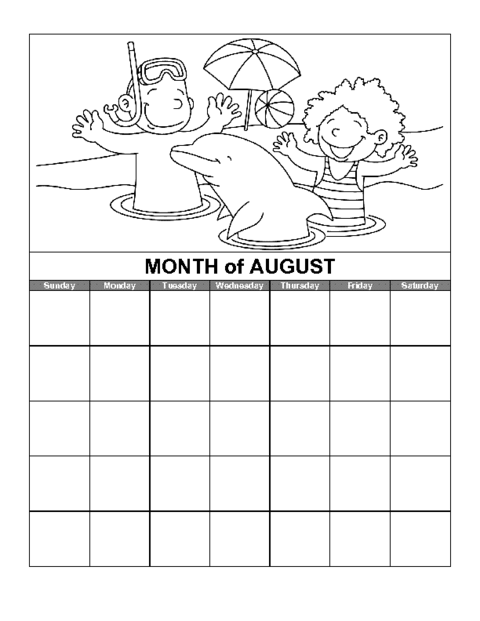 Education World August Calendar Template  Communication