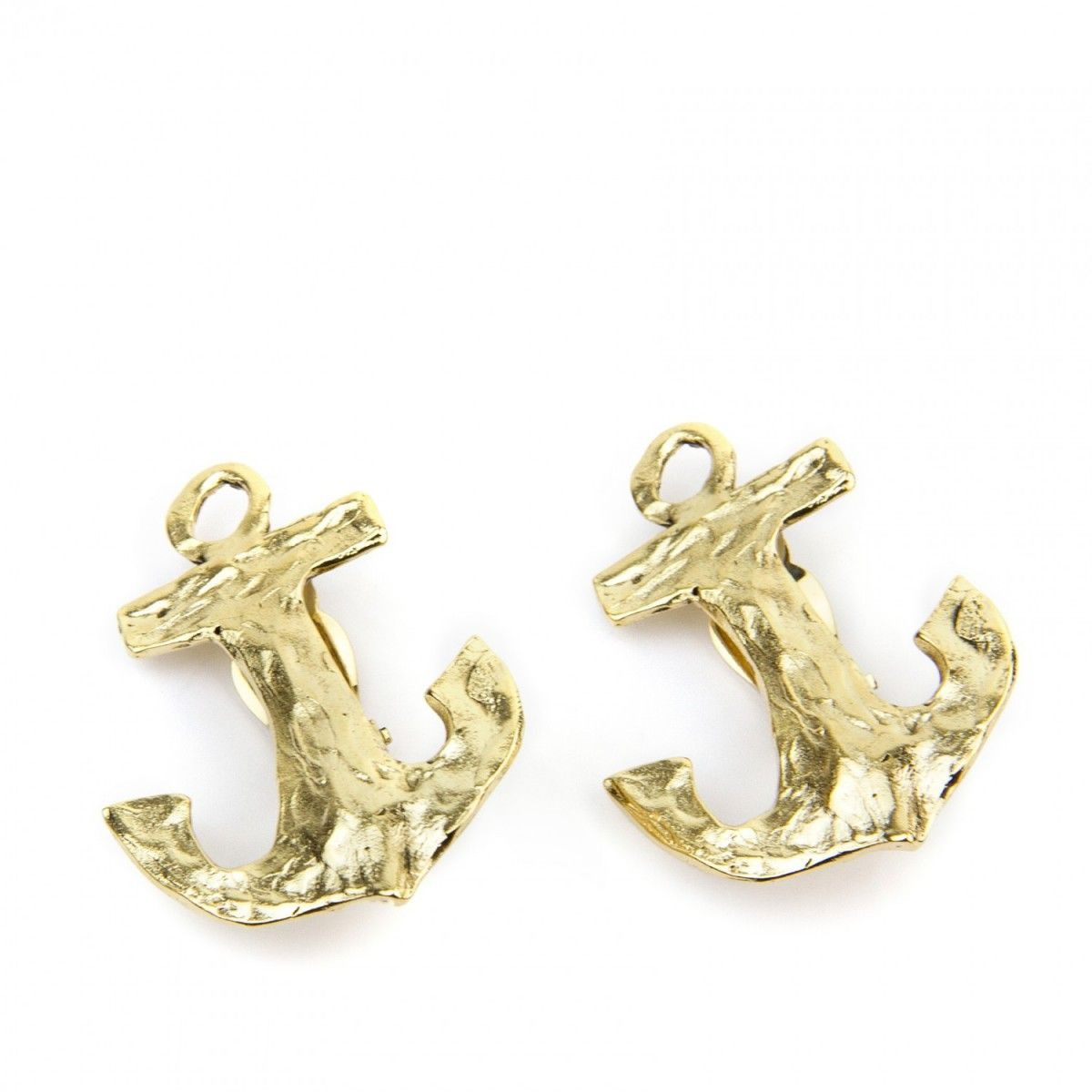 Anchor green gold earrings with carved logo and clip closure They