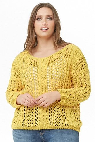 Plus Size Chenille Open Knit Sweater In 2018 Products Plus Size