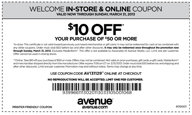 10 Off 50 At Avenue Clothing Or Online Via Promo Code Av131129 Coupon Via The Coupons App Printable Coupons Clothing Coupons Coupons