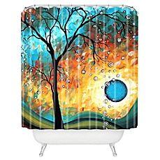 image of DENY Designs Madart Inc. Aqua Burn Shower Curtain in Blue