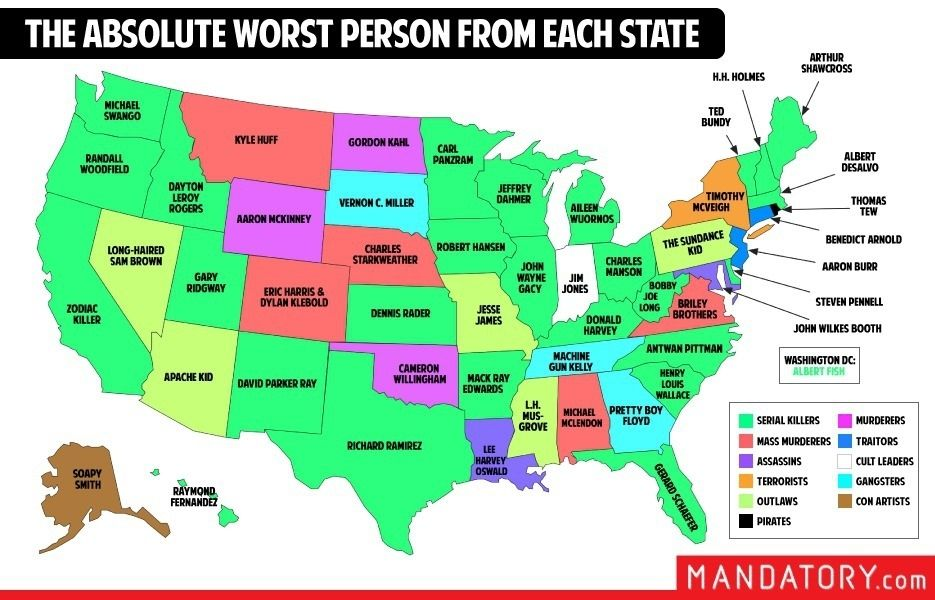 This map shows you the worst person from each state in america the folks at mandatory put together this handy dandy map detailing the most awful people in gumiabroncs Image collections