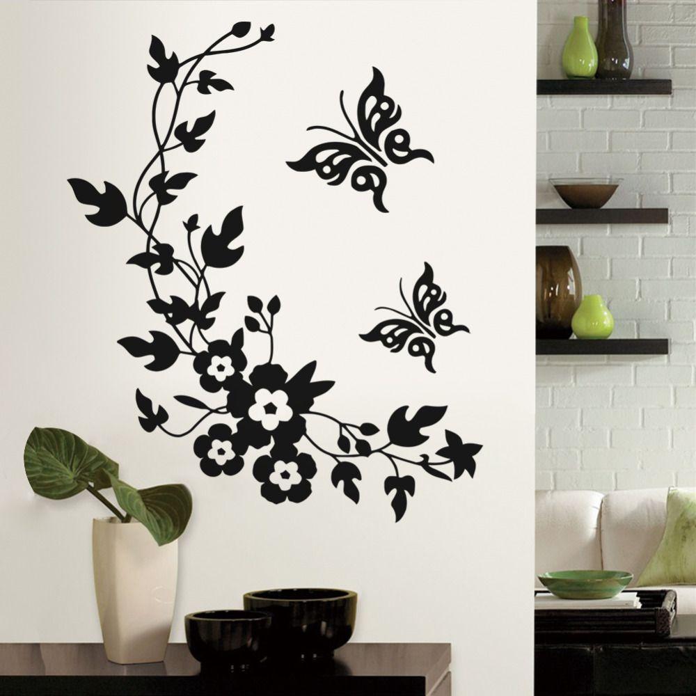 Pas Cher Amovible Vinyle 3d Wall Sticker Mural Sticker Art Fleurs Et