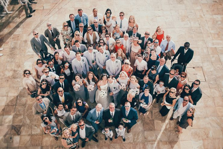 An amazing aerial shot of wedding guests enjoying the wedding day - perfect group photo - wedding photo ideas