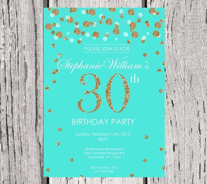 30th birthday invitation Tiffany Blue Gold Glitter Birthday – Tiffany Blue Birthday Invitations