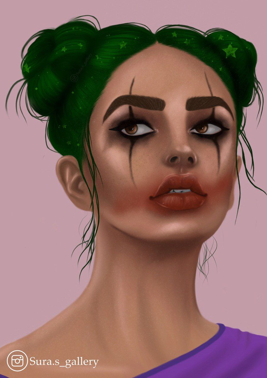 Joker 🃏 girl Cute hair colors, Joker makeup, Green hair