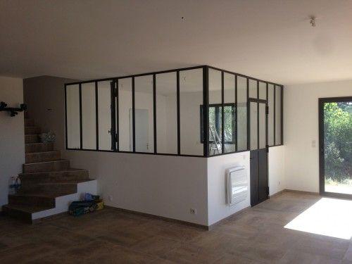 s paration de cuisine vitr e en fer verri re pinterest fenetre interieure cloisons et. Black Bedroom Furniture Sets. Home Design Ideas