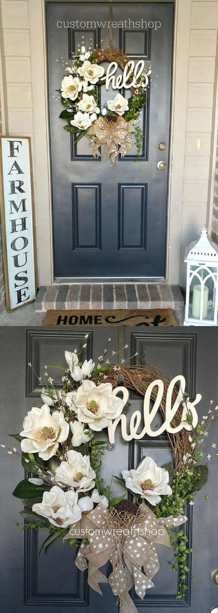 Photo of Beige and White Wreath with a Hello Sign