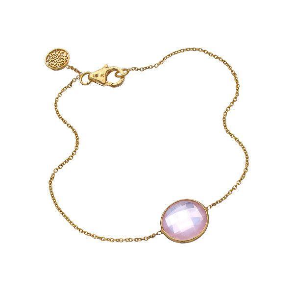Tresor Gold and Rose Quartz Fin Bracelet ($435) ❤ liked on Polyvore